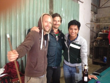 Alex and Eric, fellow volunteers, and Thien, our manager on the farm.
