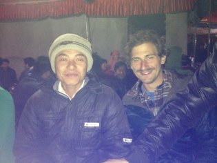 On the left, one of the workers of the farm, and on the right, our friend Eric from Seattle