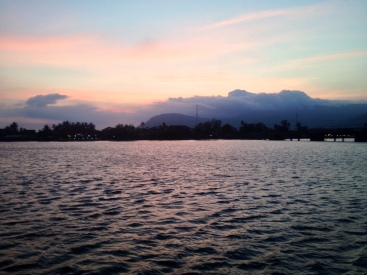 Sunset on the Mekong River in Kampot